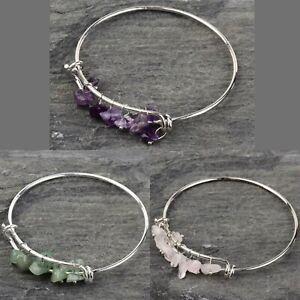 Crystal Gemstone Bracelet Chakra 7 Natural Stone Chip Silver Jewellery Bangle UK