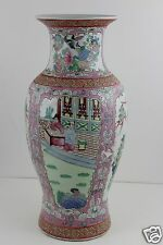 Chinese Hand Painted Large Vase SIGNED 37cm High x 17cm Diameter