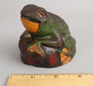 Antique KILGORE Painted Cast Iron FROG ON ROCK Mechanical Bank w/ Key NR