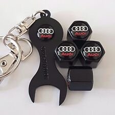 AUDI BLACK DUST VALVE CAPS & BLACK SPANNER/KEYCHAIN FOR ALL MODELS ALL COLOURS
