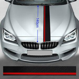 7PCS 5D Rally Racing Stripes Car Hood Carbon Fiber Decal Wrap Racing Sticker