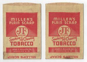 Millers Plain Scrap Smoking & Chewing Tobacco Bag Wheeling West Virgina