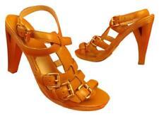 NIB MICHAEL KORS Jaden Tan Waxy leather platform buckle High Sandals Pumps 8