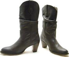 WOMENS NINE WEST BROWN SLOUCH LEATHER COWBOY WESTERN BOOTS SZ 10M 10 M