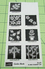 Stampin Up Garden Blocks Stamp Set of 8 Reverse Image Flower Plants Leaves