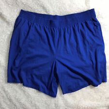 Woman Within Pull On Elastic Waist Shorts Womens Size Sz 3X 30 32 Blue Pockets