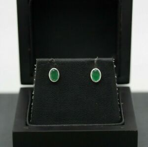 9ct White Gold 1.00ct Emerald Stud Earrings