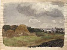 Aquarell Impressionist Karl Adser Stürmischer Tag am Meer 41,5 x 31