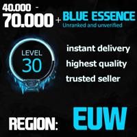 League of Legends Smurf LoL 40k - 70k BE Blue Essence unranked unverified fresh