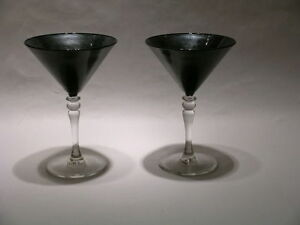 Hand Painted Black & Silver Martini Glasses Set of 2 by CharleyWare