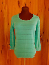 PER UNA M&S turquoise jade green knitted 3/4 sleeve jumper sweater top 10 38