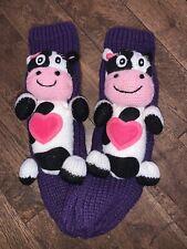 2 Pairs Girls Cosy Bed Slipper Socks Childrens Pink Purple Xmas Eve Box Gift