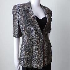 CARLA ZAMPATTI Women's Jacket Animal Print Short Sleeve Size 8 Made In Australia