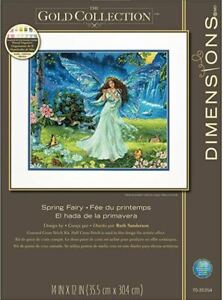 Dimensions Gold Collection SPRING FAIRY Cross Stitch Kit 14 x 12  FREE SHIPPING!