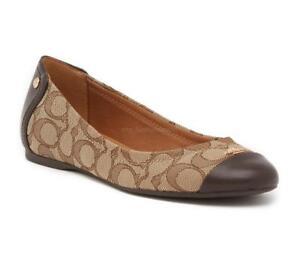 New Women Coach Chelsea Slip On Ballet Flat Shoes Signature Logo Khaki sz 8.5