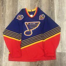 St. Louis Blues Diagonal Stripe CCM Maska Retro Vintage Hockey Jersey Size L