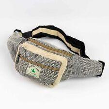 Men Women Pure Hemp Fanny Pack Bum Bag Boho Hippie Money Belt Hiking Waist Bag