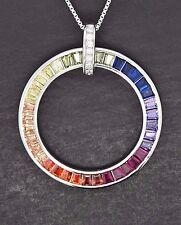 925 Sterling Silver Round Rainbow Baguette MultiColor Sapphire Pendant Necklace
