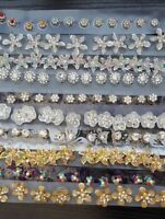 6 Bridal Wedding Prom Gold Silver Crystal Flower Hair Coils Spirals Twists Pin