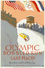 VINTAGE OLYMPIC BOBSLED RUN LAKE PLACIC A2 POSTER PRINT