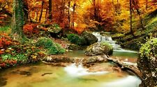 Autumn Waterfall - Colourful Forest Landscape Large Poster / Canvas Pictures