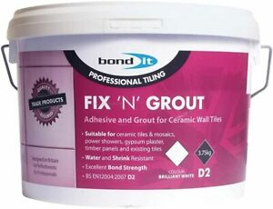 FIX N GROUT 3.75KG TILE ADHESIVE INTERNAL USE IDEAL FOR SHOWERS AND WET BOND IT