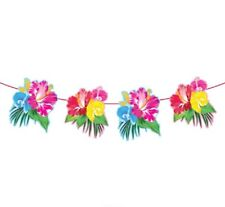 Party Girlande Wimpelkette Hawaii tropische Blumen 6 m Raum Deko Dekoration