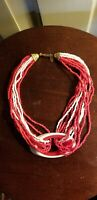 VINTAGE MIRIAM HASKELL CORAL AND WHITE SEED BEADS NECKLACE CHOKER lucite glass