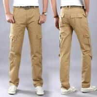 Men's Loose Fit Long Trousers Straight Pants Multi-pocket Tactical Combat Casual