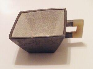 Vintage Chinese Enamel Pewter Tea Cup with Jade Handle