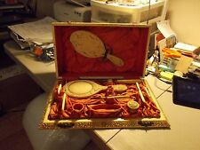 Vintage BAKELITE CELLULOID DRESSER VANITY 10 PIECE SET HAS RARE CASE
