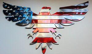 "Patriotic American Bald Eagle - Metal Wall Art - Red, Silver, & Blue 22"" x 12"""