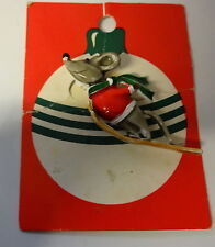 Vintage Retro 60s Enamel Christmas Mouse  Santa Shirt Skating Pin Brooch