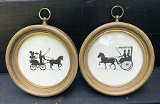"""2 Vintage Silhouette Horse and Buggy Pictures in Round Frames 6"""""""