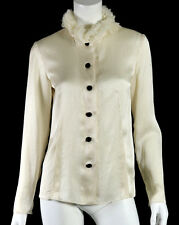 LANVIN Ivory Satin & Ruffled Tulle Removable Collar Zip-Sleeve Blouse 38
