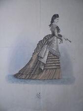 21471 Pariser Mode Ausgehkleid Gründer Modestich Stahlstich handkoloriert 1870