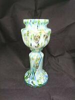 Czech Bohemian Franz Welz Spatter Vase Blue Green Glitter Decorated USA SHIP