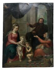 Grande huile sur cuivre, Début XVIIe, Scène religieuse, Certainement flamande