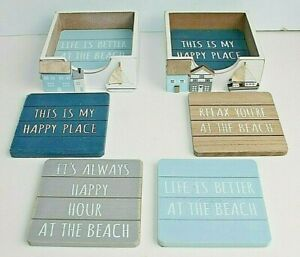 4 Wooden Seashore Coastal Beach Coasters in a Holder