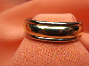 Retired James Avery Palladium and 14k Yellow Gold Band Ring Size 9 3/4 Lot 1110