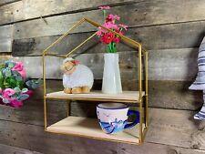 House Shape Wall Shelves Cube Storage Shelving Antique Gold Metal Frame Unit New