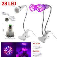 E27 28W LED Full Spectrum Grow Light Lamp Bulb Clip for Plant Flower Hydroponic