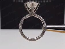 925 Sterling Silver 2 CT Off White Round Moissanite Engagement Wedding Ring