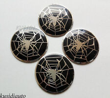 """4x 2.2"""" Black Silver Spider Design Wheel Center Cap Emblem Badge Decal Sticker"""