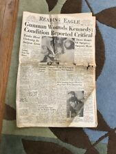 """CONDITION CRITICAL""  BOBBY KENNEDY JUNE 5 1968 Reading Eagle NEWSPAPER"