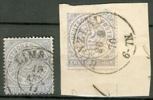 NDP Lot 2 Werte Mi.-Nr.17 beide mit Doppelkreisstempel, 1x Briefstück