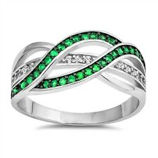 Emerald and Clear CZ Infinity Band Sterling Silver Ring
