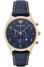 Orologio Emporio Armani da uomo AR1862 Cassa dorata Cinturino pelle blu
