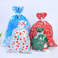 10PCS Large Drawstring Christmas Gift Bag Party Candy Bags Cookie Wrapping Pouch
