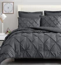 100% Microfiber Charcoal Grey Linen Textured Printing Pinch Pleat Comforter Set